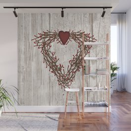 Pip Berry Heart Wreath Wall Mural