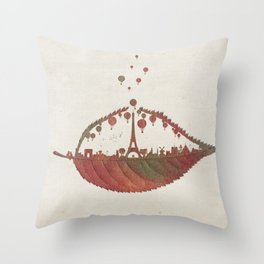 Magical Flight over Paris Throw Pillow