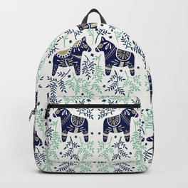 Swedish Dala Horse – Navy & Mint Palette Backpack