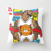 lebron Throw Pillows featuring King James by Bobby Bernethy