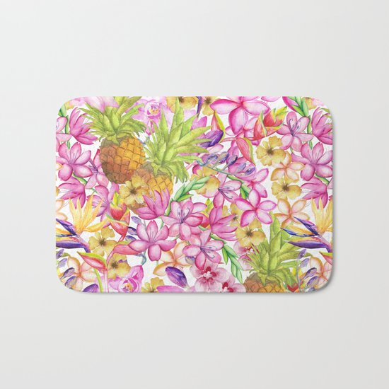 Tropical flower and pineapple watercolor art Bath Mat