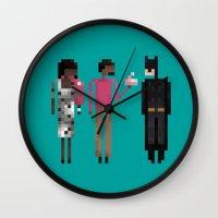 treat yo self Wall Clocks featuring Treat Yo Self by LOVEMI DESIGN