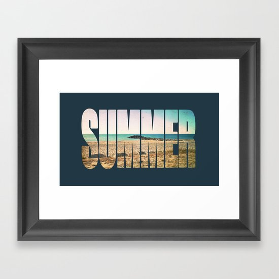Summer - Frontignan beach in southern france - seascape Framed Art Print