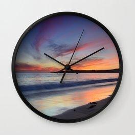 """Bolonia beach at sunset"" Wall Clock"