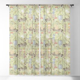 Woodland Animals In Forest Sheer Curtain