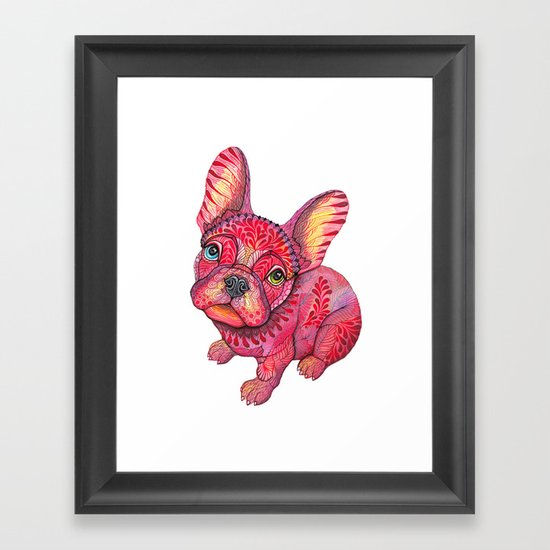 Raspberry frenchie Framed Art Print