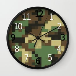 Army Camouflage Pixelated Pattern Green Brown Mountain Wall Clock