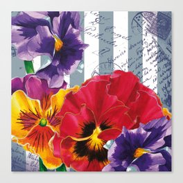 Stripes and Flowers Canvas Print