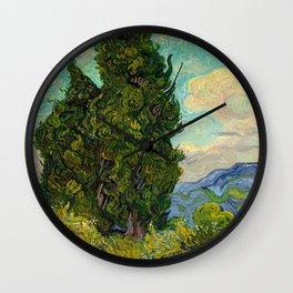 Cypresses Oil Painting Landscape Vincent van Gogh Wall Clock