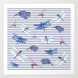Dragonfly stripes Art Print