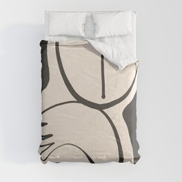 Lady Portrait Abstract Minimal  Line Art Comforters
