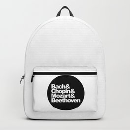 Bach and Chopin and Mozart and Beethoven, sticker, circle, black Backpack