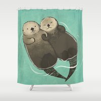otters Shower Curtains featuring Significant Otters - Otters Holding Hands by StudioMarimo