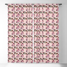 Antique Alice BA5 - The Cheshire Cat - Blush Pink, Burgundy, Roses Blackout Curtain