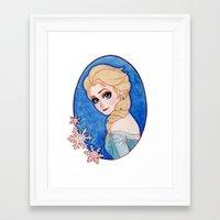 frozen elsa Framed Art Prints featuring Elsa - Frozen by Naineuh