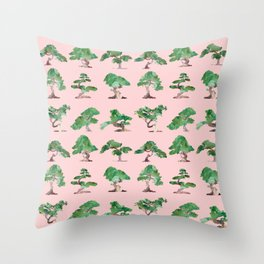 Bonsais Pink Throw Pillow