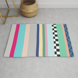 Stripes Mixed Print and Pattern with Color blocking Rug