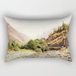 Vintage landscape mountains and river Rectangular Pillow