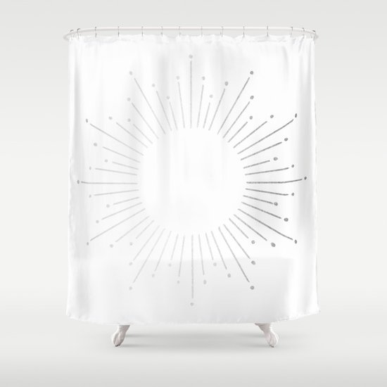 Sunburst Moonlight Silver On White Shower Curtain By Simple Luxe Society6