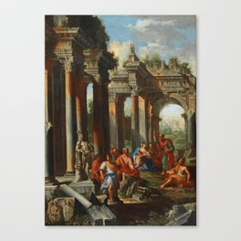 Alberto Carlieri – a pair (2) (Rom 1672 – circa 1720) Capriccio of ruins with the Sermon of Saint Pa Canvas Print