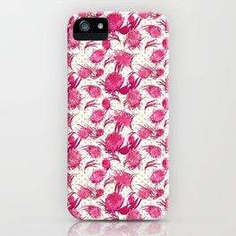 Beautiful Pink Australian Native Flowers on Gold Polka Dots - Protea, Grevillea, Eucalyptus iPhone Case