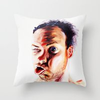 no face Throw Pillows featuring Face by Martin Kalanda