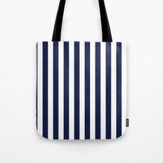 Stripe Vertical Navy Blue Tote Bag