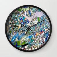 bathroom Wall Clocks featuring Venice Beach Bathroom Art by Kim Ramage