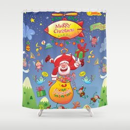 Santa has a Zeppelin to Deliver Christmas Gifts Shower Curtain