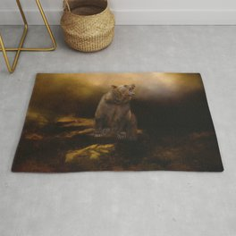 Roaring grizzly bear Rug