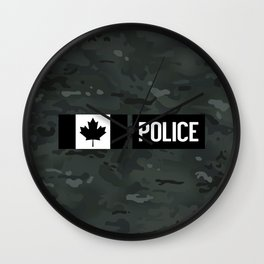 Canadian Police: Black Camouflage Wall Clock
