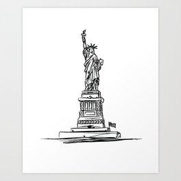 Statue of Liberty black and white minimalist sketch illustration. New York Destination Art Art Print
