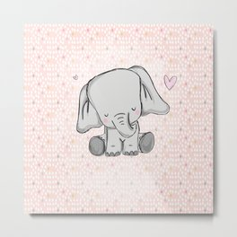 elephant girly cuty Metal Print