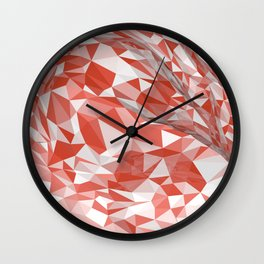 Abstract coral white modern geometrical triangles Wall Clock