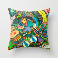 Throw Pillows featuring Krazy Kitchen! by feralsister