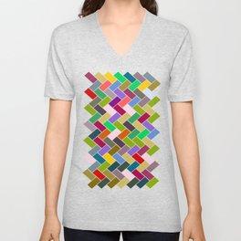 Colourful Tiled Mosaic Pattern Unisex V-Neck
