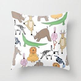 safari animal yoga Throw Pillow