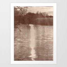 Sunset on the River_brown vintage style Van Dyke Art Print