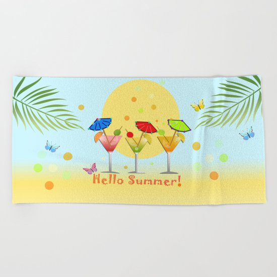 Hello Summer, vector illustration with text Beach Towel