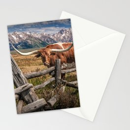 Texas Longhorn Steer with Wood Log Fence in Wyoming Pasture Stationery Cards