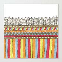 bright patterned stripes with a feathery edge Canvas Print