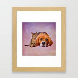 Beagle dog and kitten digital art Framed Art Print