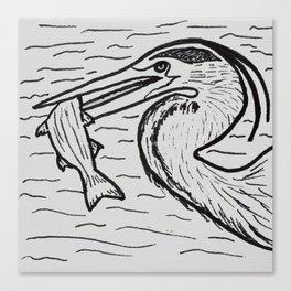 FISHING (Heron) Canvas Print