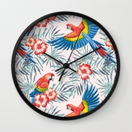 Macaw parrots in the jungle Wall Clock