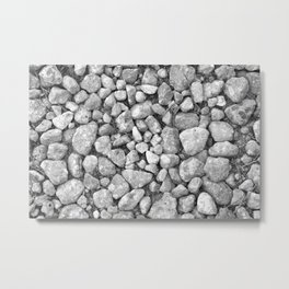 black and white gravel zen rocks nature country  close up Metal Print