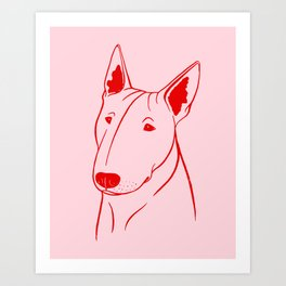 Bull Terrier (Pink and Red) Art Print
