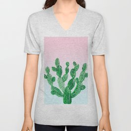 Cacti rose & green Unisex V-Neck