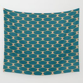Mid century Quatrefoil pattern Pink Blue Wall Tapestry