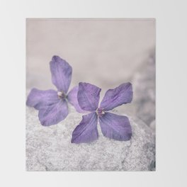 Zen Soft Pastel Purple Clematis Blossom Throw Blanket