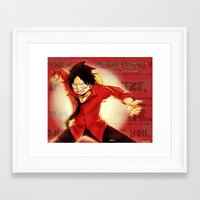 luffy Framed Art Prints featuring Luffy  by kimiyo